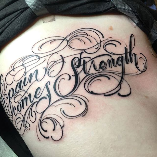Beautiful script made by @abirdstrike on a clients ribs. If you are looking for any custom lettering, this is your guy! . . . . #letteringtattoo #braindropssf #bryanblanco #bayareatattoo #bayareatattooartist #letteringgods #lettering #fancyscript #ribtattoo #tattoo