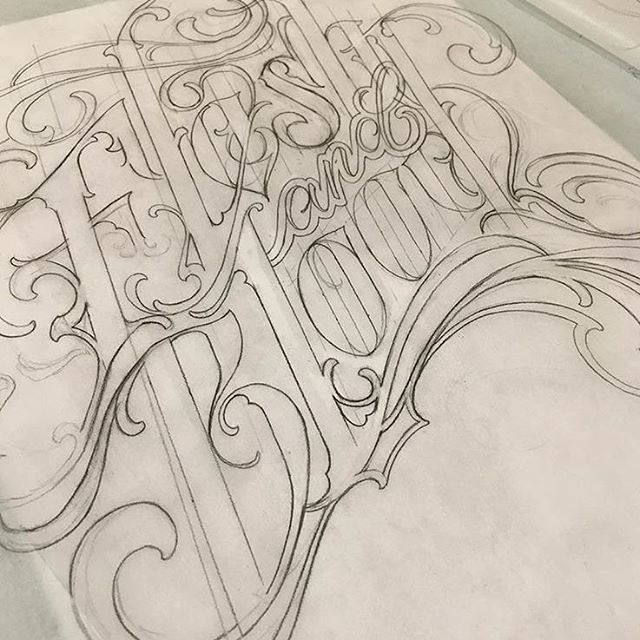 @abirdstrike is mapping out some lettering for above a knee, email the shop if you are looking for any lettering tattoos! . . . . . #lettering #braindropssf #bayareatattoo #sanfrancisco #bayareatattooartist #letteringgods #letteringtattoos #gangsterlettering
