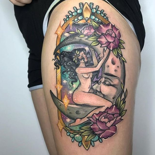 @maggiemajoue finished this midnight rider piece last week! She is booking September! . . . . #braindropssf #bayareatattoo #bayareatattooartist #sanfrancisco #neotraditionaltattoo #tattoo