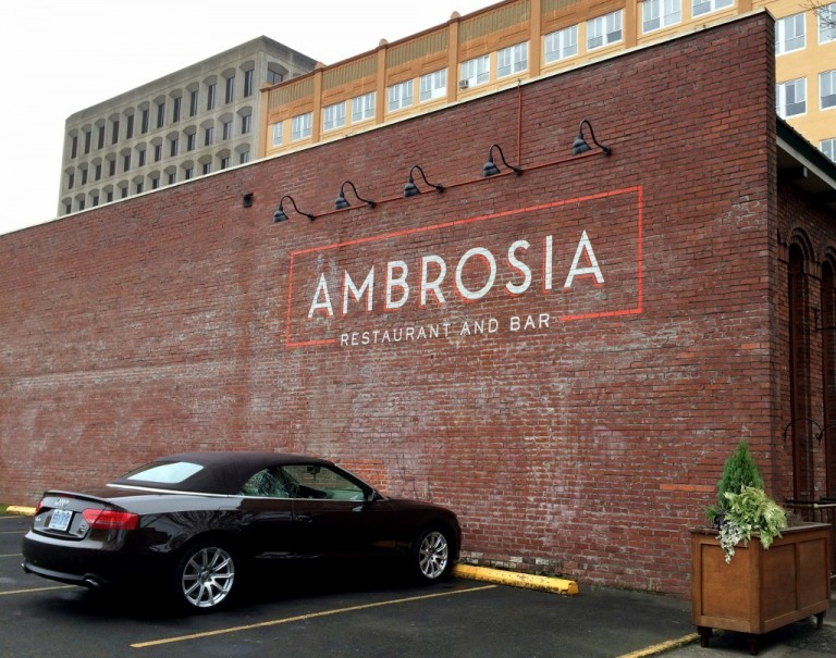After 26 years in business, Ambrosia Restaurant in Eugene, Oregon has updated their logo and signage. The restaurant has been gradually making updates that will seamlessly fit in with the historic downtown neighborhood.