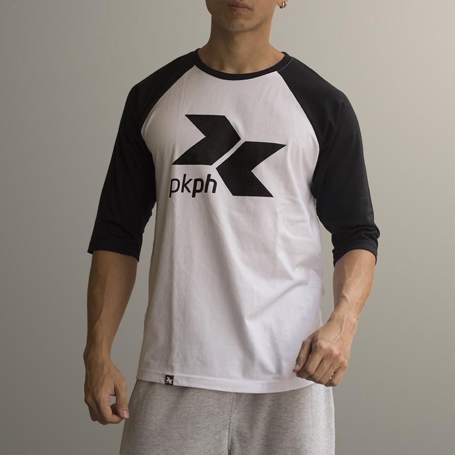 Black PKPH logo on front of a Raglan shirt.