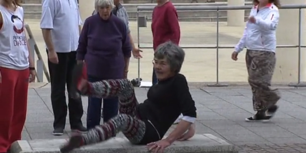 Screen grab taken from ITV News Wales segment on Parkour and the elderly. Look for the video below.
