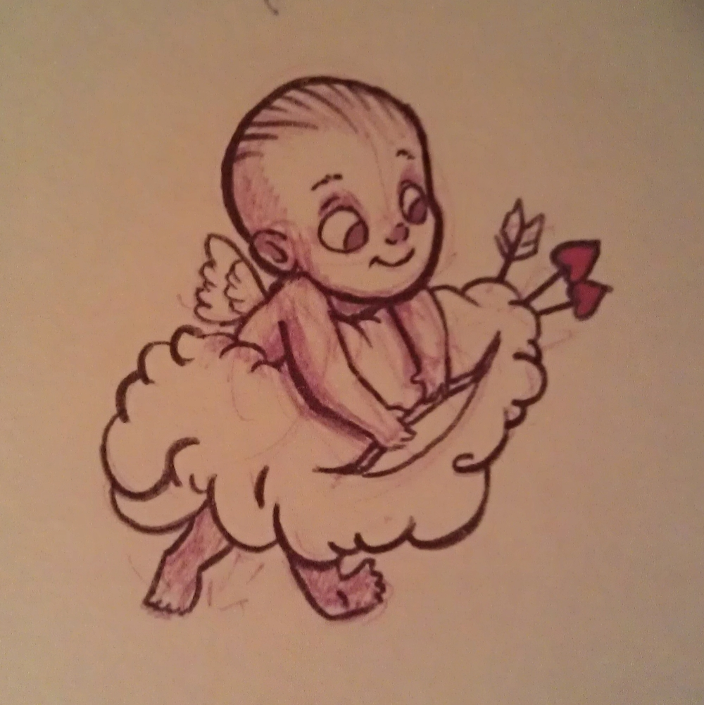 Quick cupid doodle from this year. Obviously traditional because of the quality.