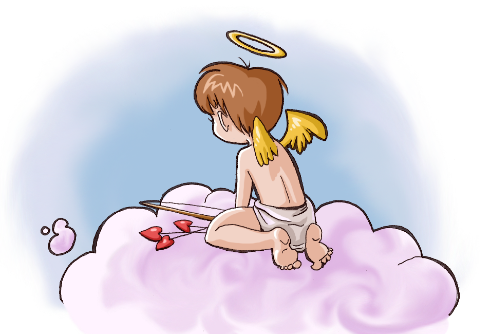 A pensive cupid looking out off a cloud.
