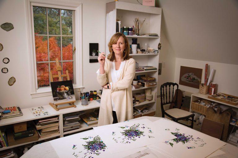 The artist in her studio
