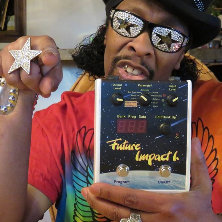 "Bootsy Collins    ""The best Bass Synthesizer pedal hands up or down.   The Future Impact, Built to Blast!   Now, where'd u get yr Funk from?   Bootsy baby!!!"""