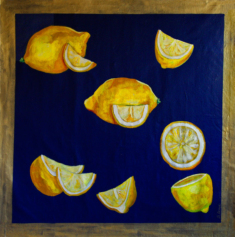 Lemons Square 6' x 6' Floor Cloth