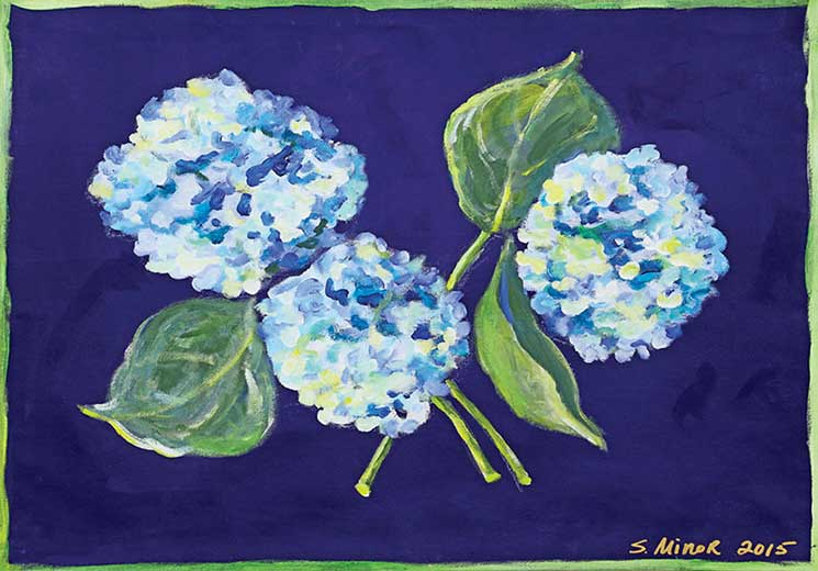 Hydrangea on Navy Placemat