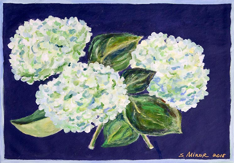 White hydrangea on navy placemat