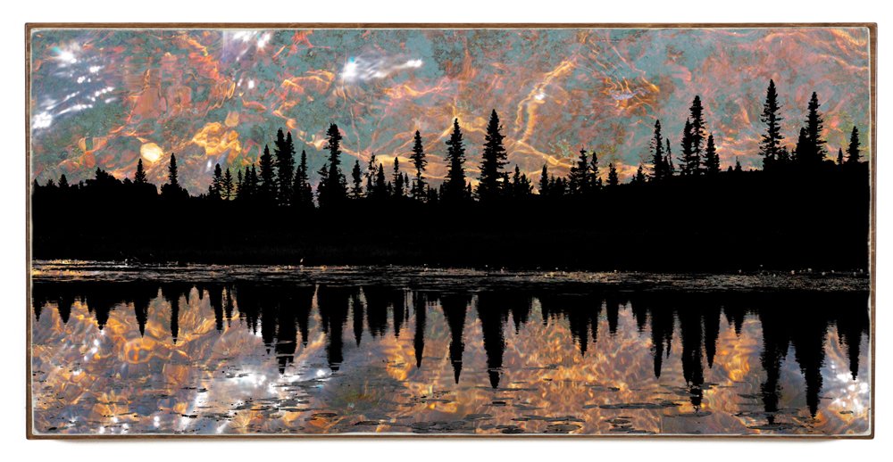 """Mystic Skyline"", 48x24x1.5"", Giclée print on watercolour paper, mounted on stained birch panel, limited edition (of 10), $1590"