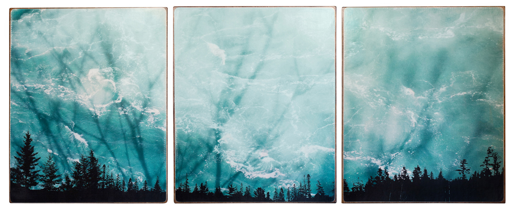 """Aqua Skyline"" 72x30x1.5"", Giclée print on watercolour paper, mounted on stained birch panel, limited edition (of 10), $2990"