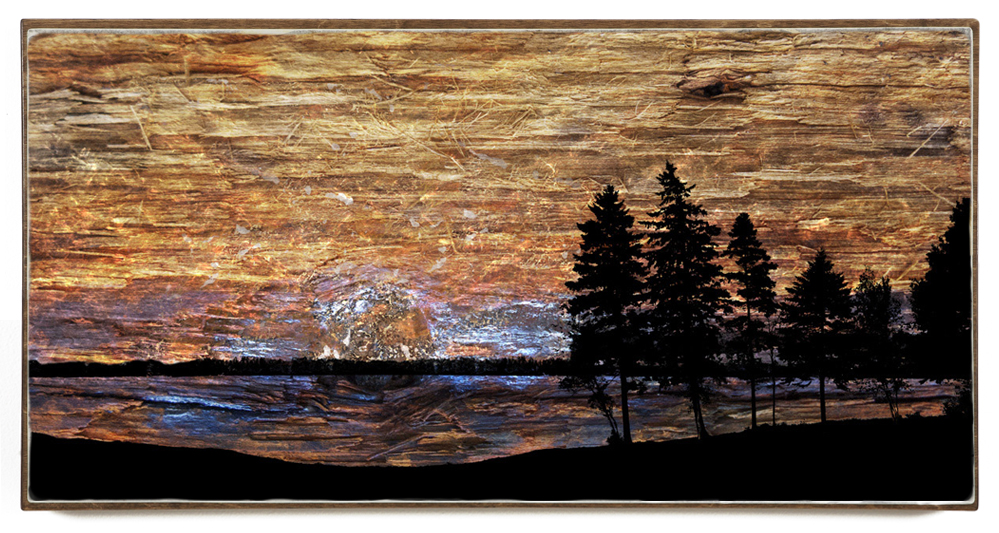 """Lakeside Sunset"", 48x24x1.5"", Giclée print on watercolour paper, mounted on stained birch panel, limited edition (of 10), $1590"