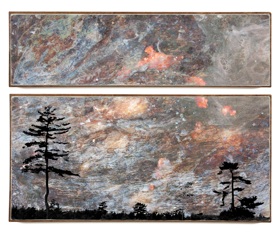 """Cosmic Skyline"", 60x45x1.5"", Giclée print on watercolour paper, mounted on stained birch panel, limited edition (of 10), $3990"