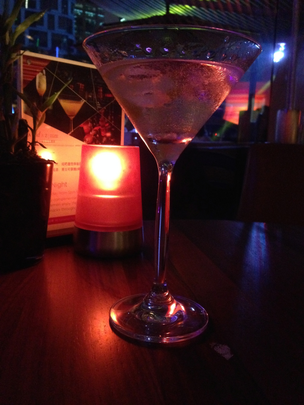Cocktail of choice, dry gin martini with a twist.