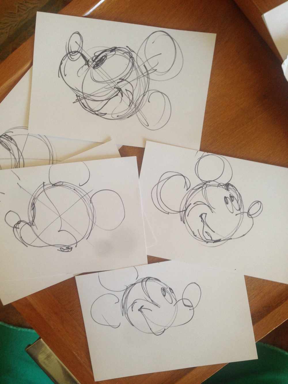 I had to practice drawing Mickey if I was going to have to draw him on camera.