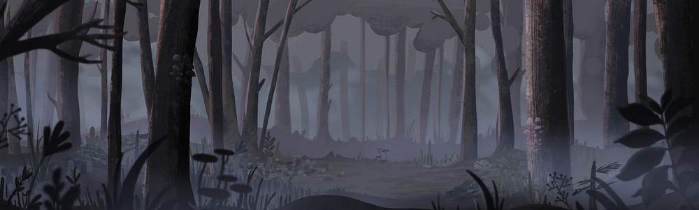 Look development for the 2D forest scene.