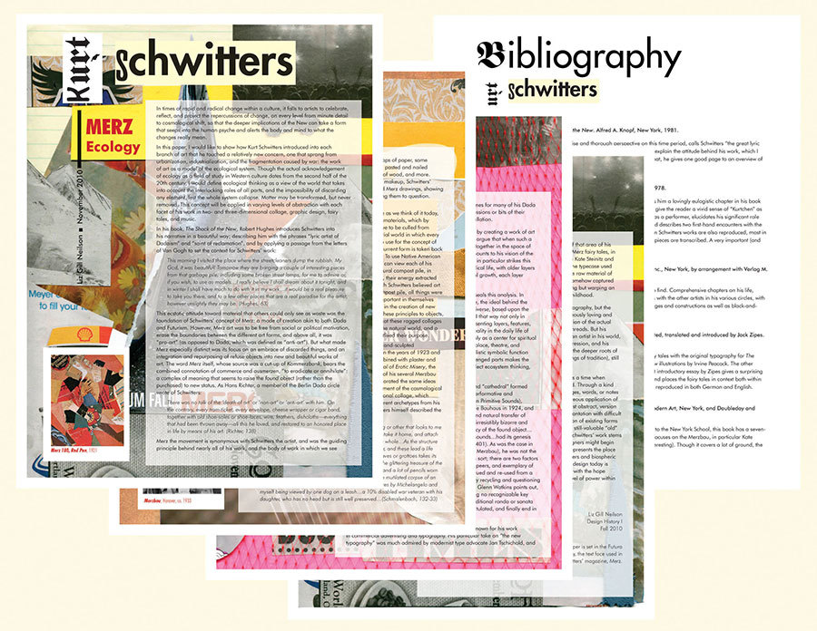Designed term paper on Kurt Schwitters for Margaret Richardson's Design History I class
