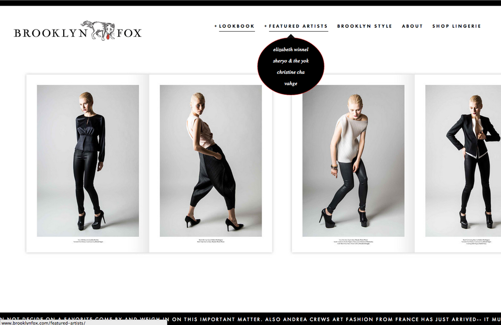 Brooklyn Fox Website designed by The Beauty Shop