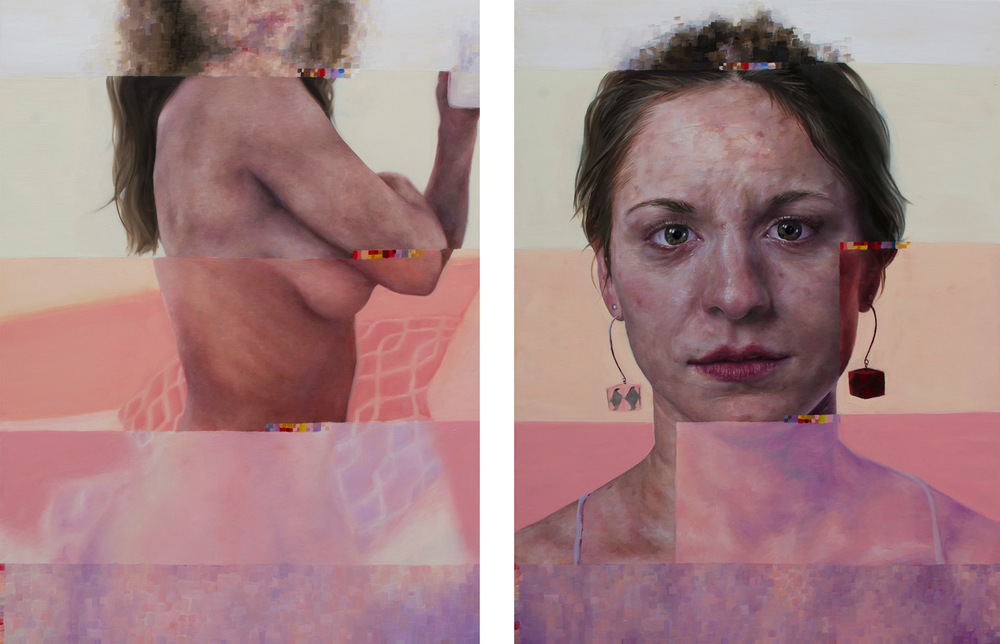 "Nick Ward | Portrait From Web, Portrait From Life (2) | Oil on panel | Two panels, each 30""x40"" 