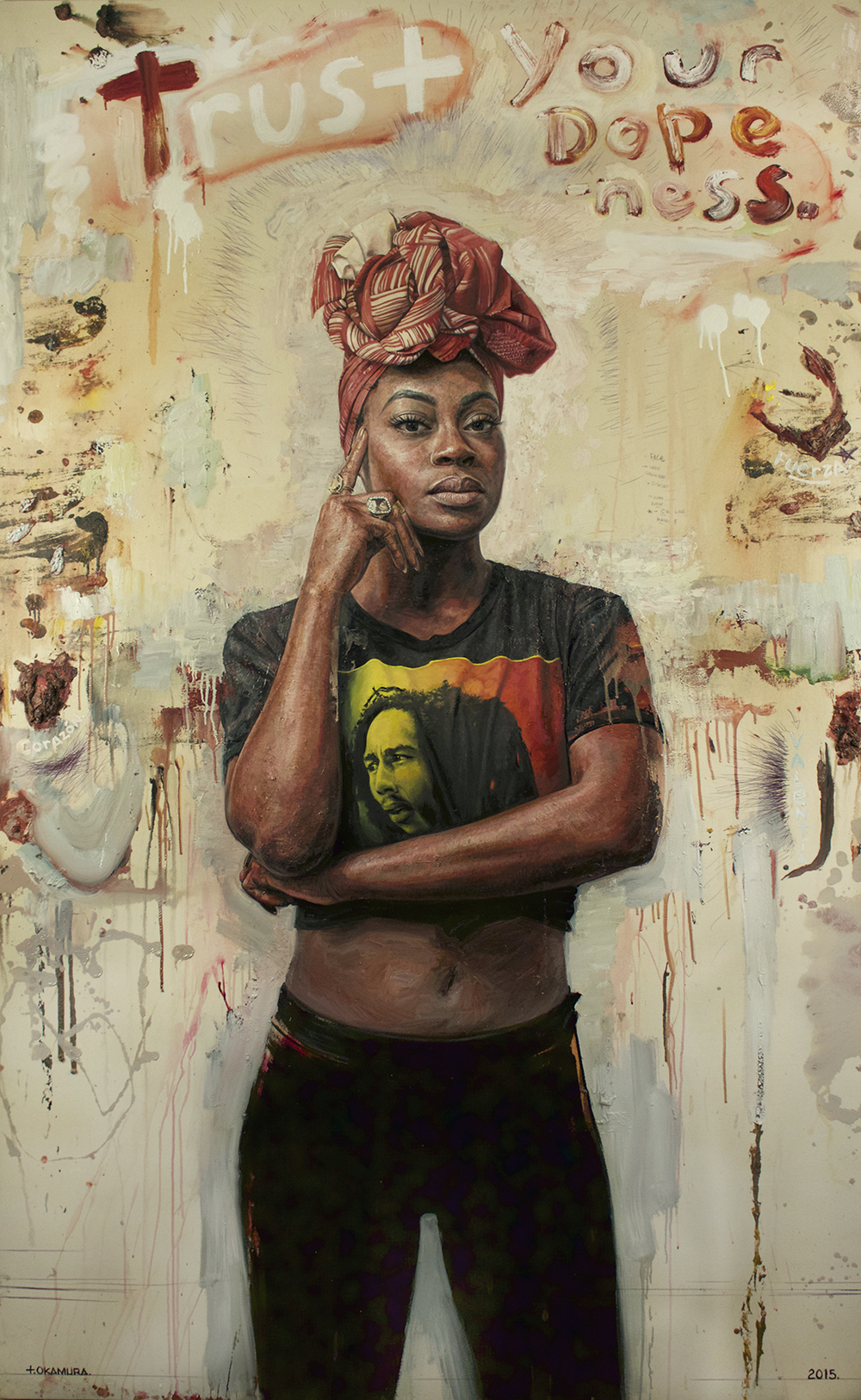 Tim Okamura | Trust Your Dopeness |  oil & mixed media on canvas |   100x62 inches | 2015