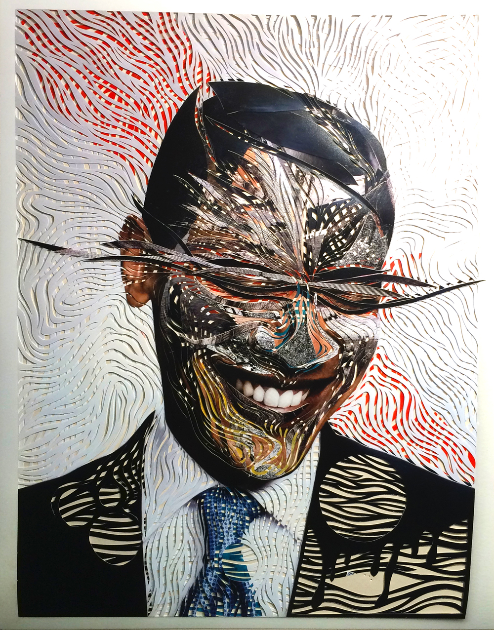 Marco Gallotta | Obama | cut-out paper, collage and acrylics | 20x26
