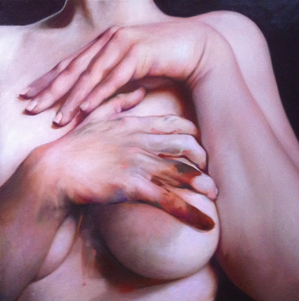 Caroline Westerhout  |  Hold Me  |  Oil on Canvas  |  50 x 50 cm or 19 ½ x 19 ½ inches