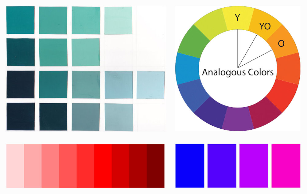 Left : Examples of Monochromatic Color Schemes                  Right : Examples of Analogous Color Schemes
