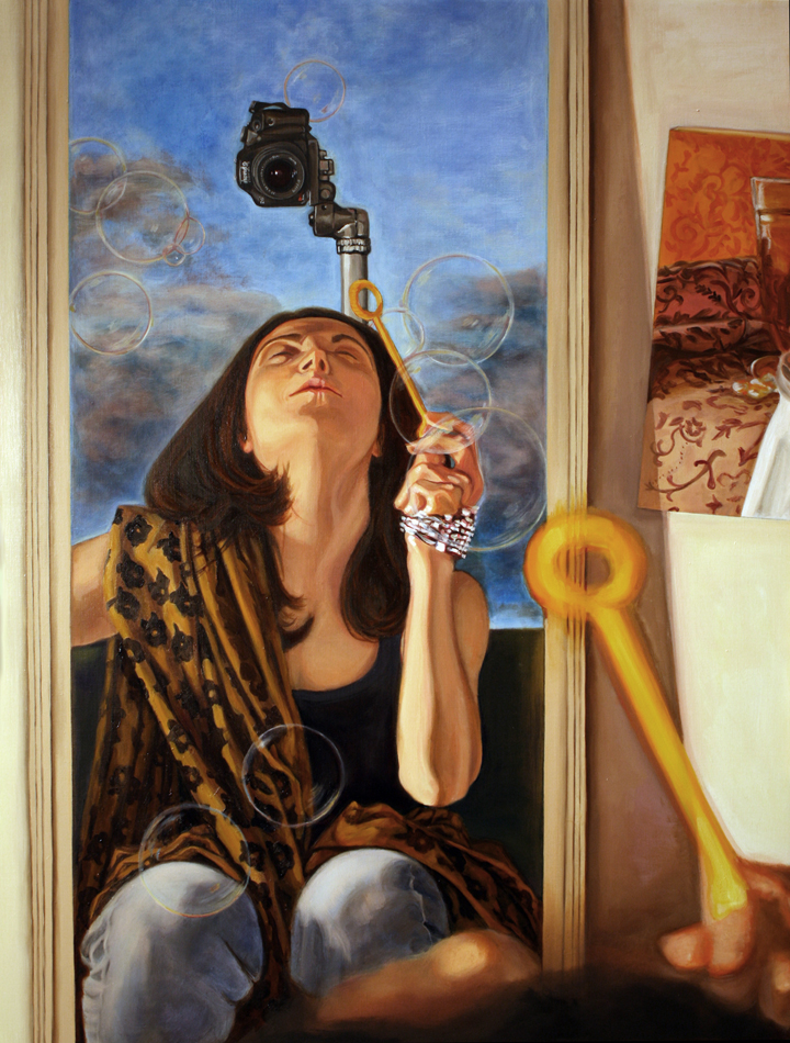 Self-Portrait with Bubbles | oil on canvas 34 x 26 inches | 2011