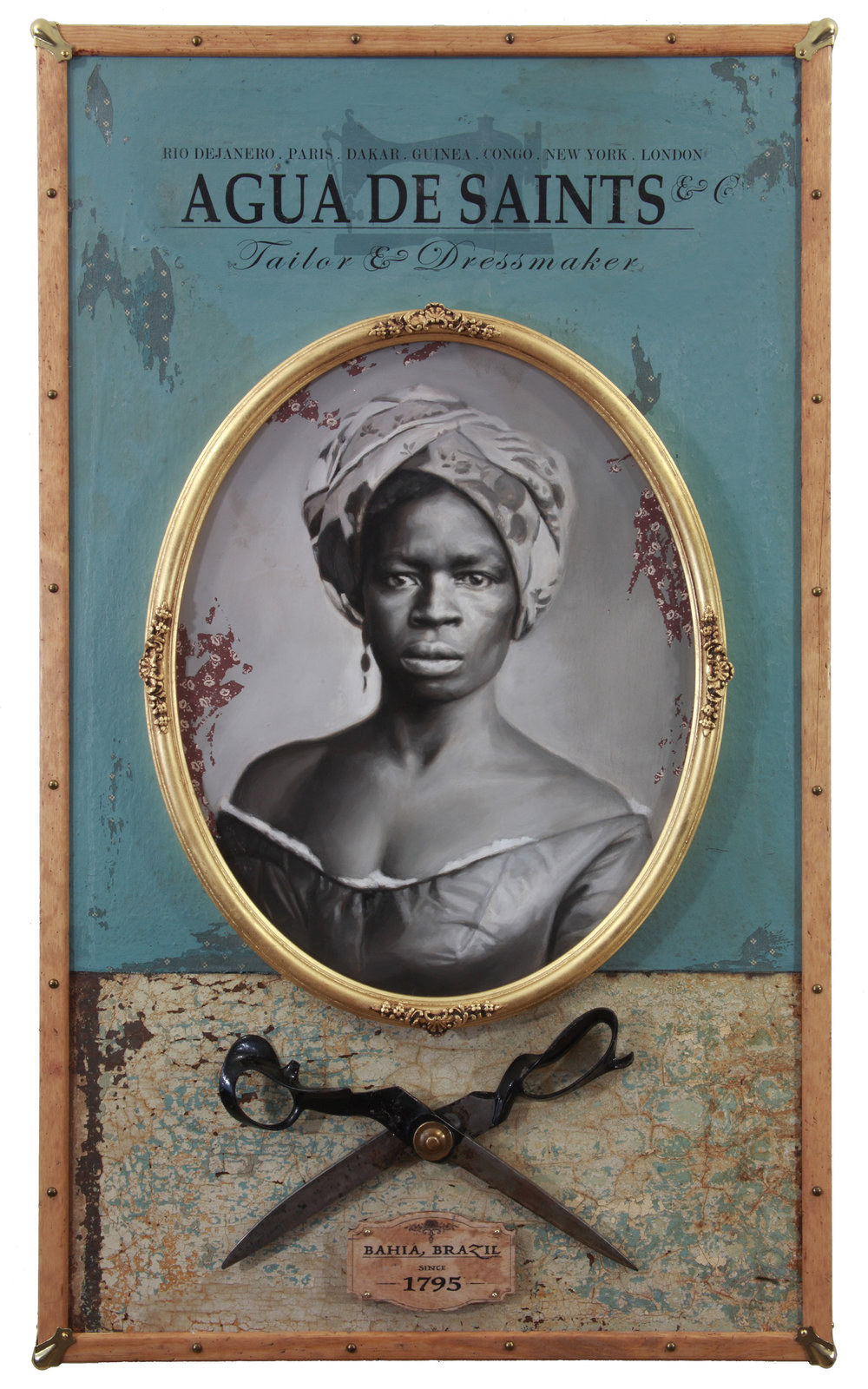 Jules Arthur  |  Bahia Belle  |  Portrait painted in oil on wood panel. Wood and metal constructed box frame, brass hardware, gold leaf frame, cloth fabric, antique tailor scissors, stained wood  |  23 ½ x 40 x 4 inches or 59 ½ x 101 ½ x 10 cm