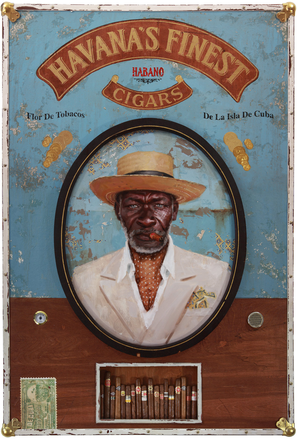 Jules Arthur  |  Havana's Finest  |  Portrait painted in oil on wood panel. Constructed wooden box frame, fabric, leather, 23k gold leaf lettering, brass hardware, authentic humidor, cigars purchased in Havana, Cuba  |  60 x 41 x 4 inches or  152 ½ x 104 x 10 cm