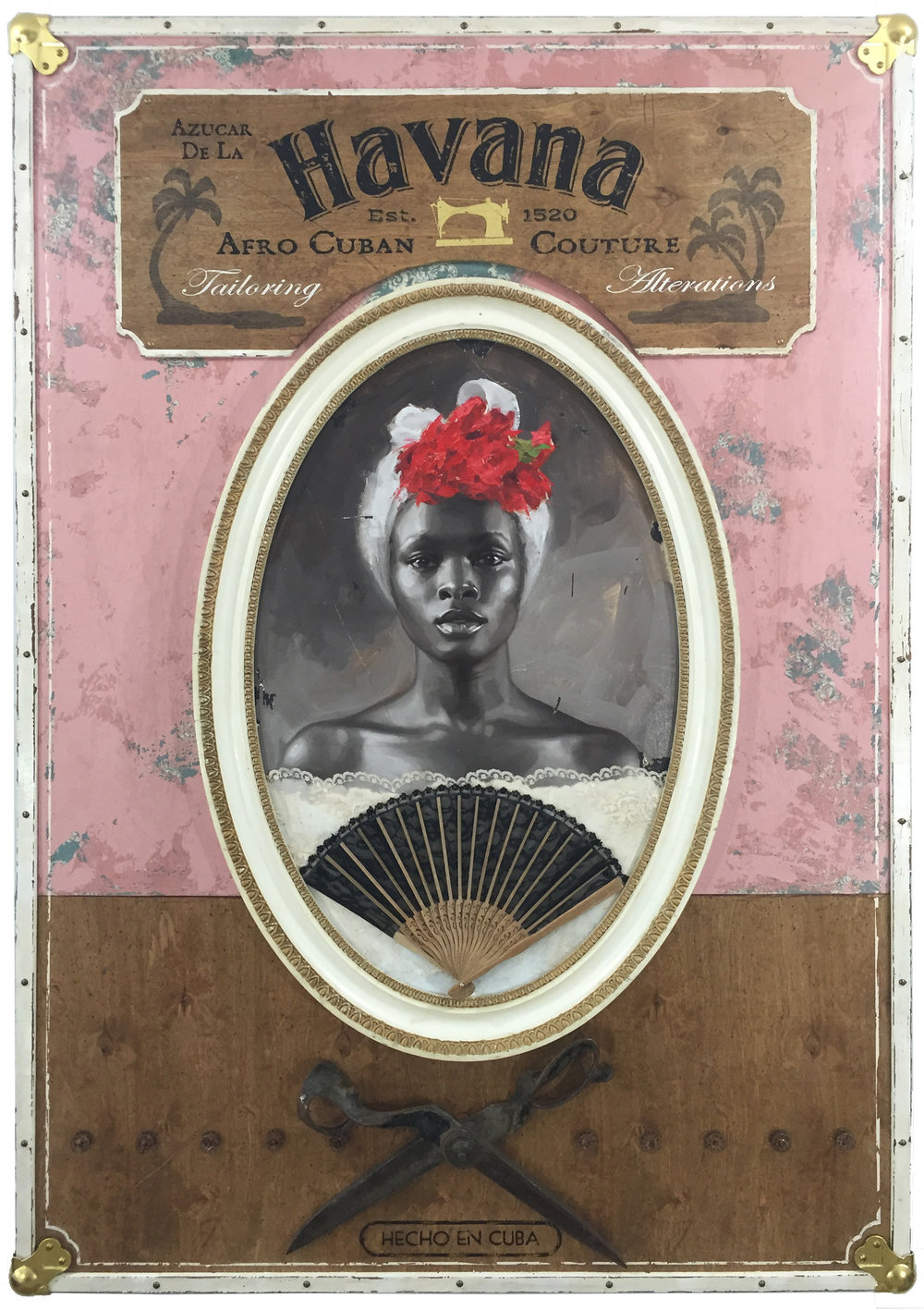 Jules Arthur  |  Azúcar de la Havana  |  Portrait painted in oil on wood panel. Constructed wooden box frame, fabric, leather, 23k gold leaf lettering, brass hardware, vintage bespoke tailor shears, thread spoils  |  39 x 56 x 4 inches or 99 x 142 ¼ x 10 cm