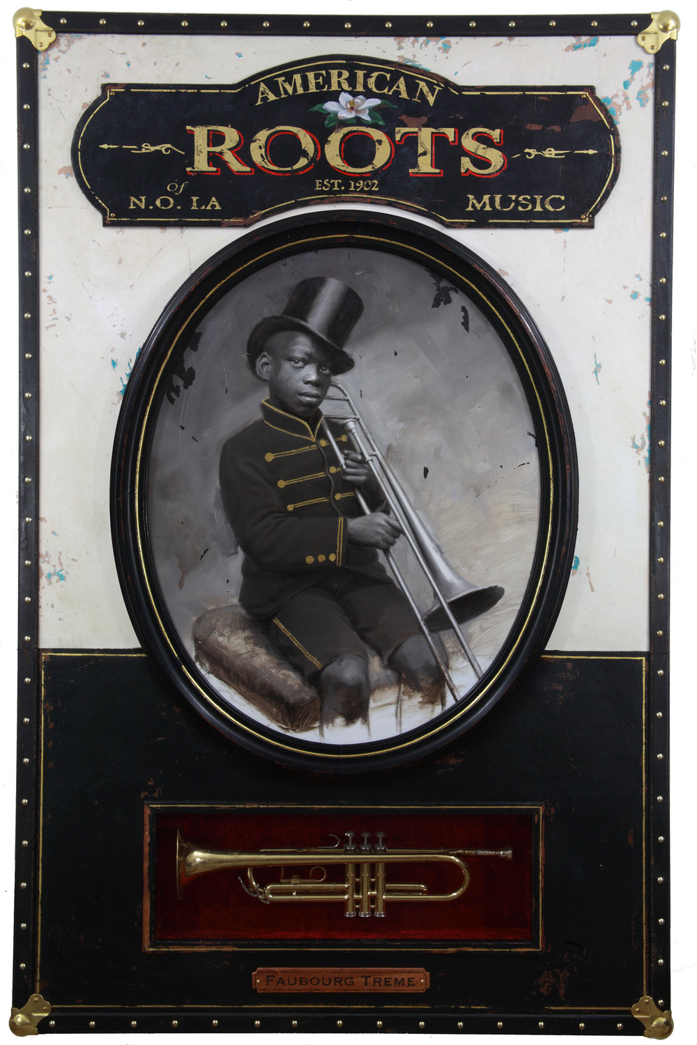 Jules Arthur  |  American Roots Music  |  Portrait painted in oil on wood panel. Constructed wooden box frame, fabric, leather, 23k gold leaf lettering, brass hardware, vintage trumpet  |  42 x 65 x 6 inches or 106 ½ x 165 x 15 ¼ cm
