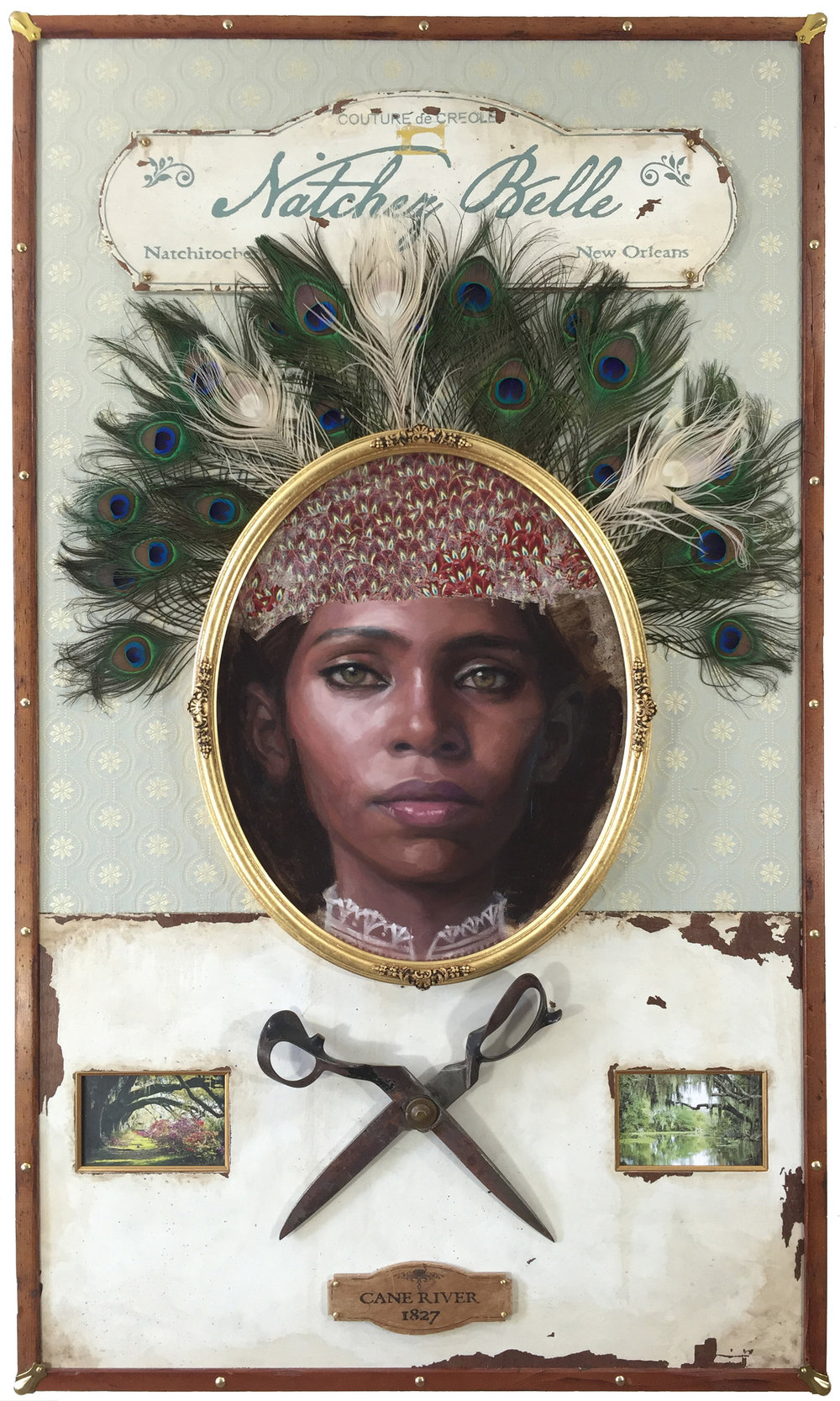 Jules Arthur  |  Natchez Belle  |  Portrait painted in oil on wood panel. Constructed wooden box frame, fabric, peacock feathers, 23k gold leaf lettering and oval frame, brass hardware, vintage bespoke tailor shears  |  31 x 53 x 4 inches or 78 ¾ x 134 ½ x 10 cm