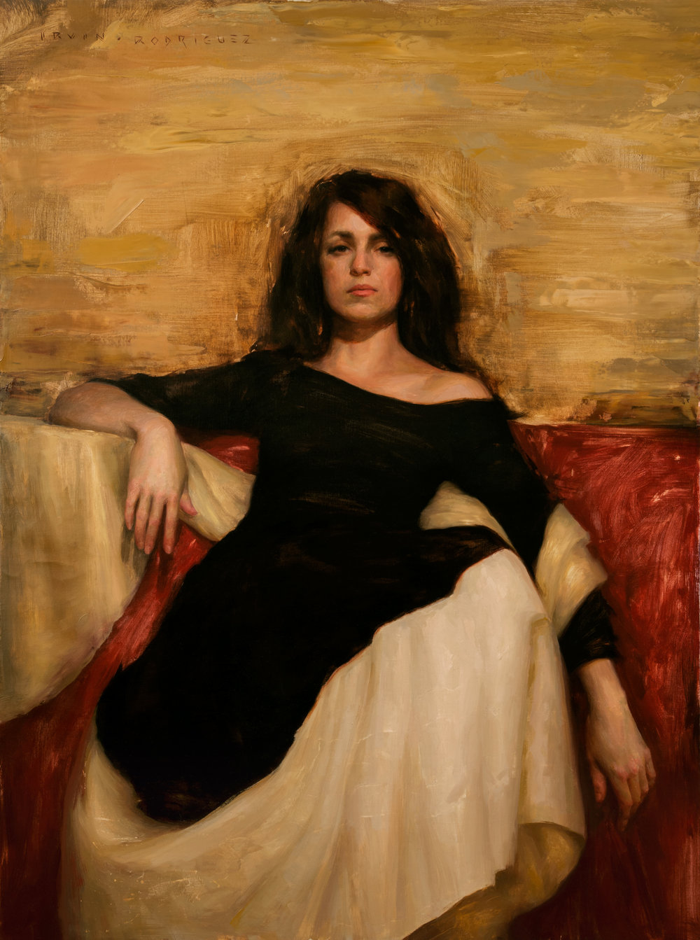 Irvin Rodriguez  |  Woman in Black  |  Oil on Linen  |  40 x 30 inches or 101 ½ x 76 cm