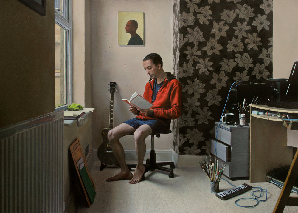 Raoof Haghighi  |   The Reader   |  Oil on Panel  |   19 ½ x 27 ½ inches or 50 x 70 cm