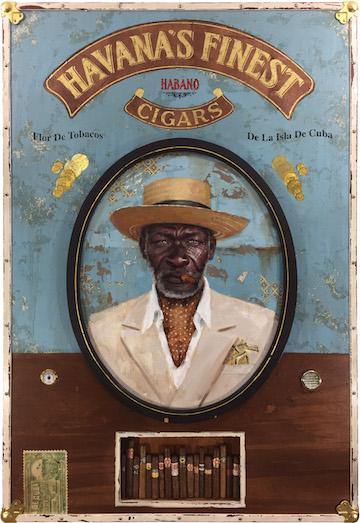 Jules Arthur,  Havana's Finest  | oil on wood panel, constructed wooden box frame, fabric, leather, 23k gold leaf lettering, brass hardware, cigars from Cuba, mixed media | 41 x 60 x 4 inches | 2016