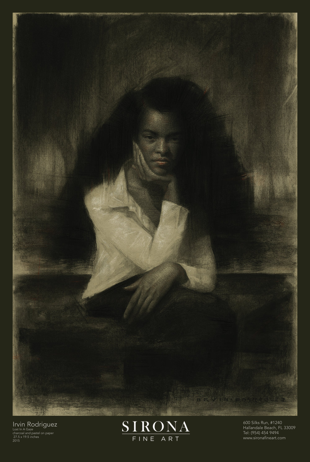 Irvin Rodriguez,  Lost In A Gaze  | charcoal and pastel on paper | 27.5 x 19.5 inches | 2015