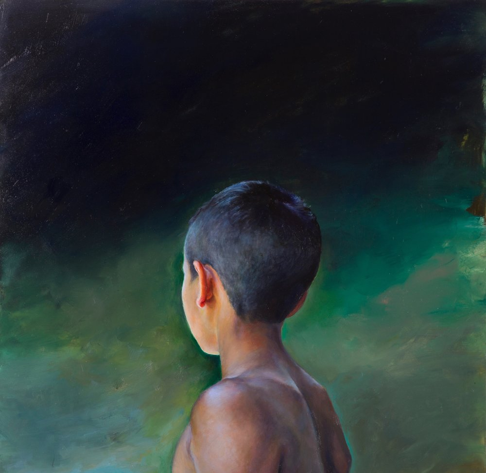 Elsa Muñoz,  Boy in Green  | oil on panel | 24 x 24 inches | 2016