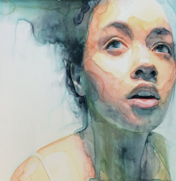 Ali Cavanaugh | Eutierria | watercolor on clay | 12x12