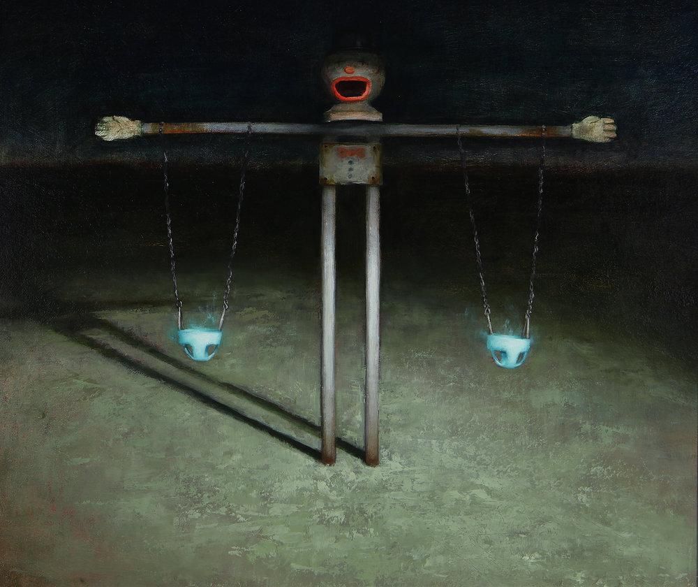 """Averi Endow, Heisenberg, oil on panel, 16""""x 20"""", 2016"""