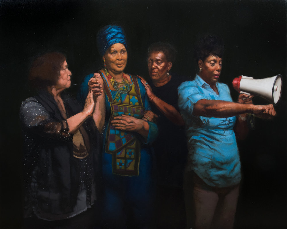 Sylvia Parker Maier  |   4 Mothers, We Shall Not Be Moved   |  Oil on Linen  |  75 x 60 inches or 190 ½ x 152 ½ cm