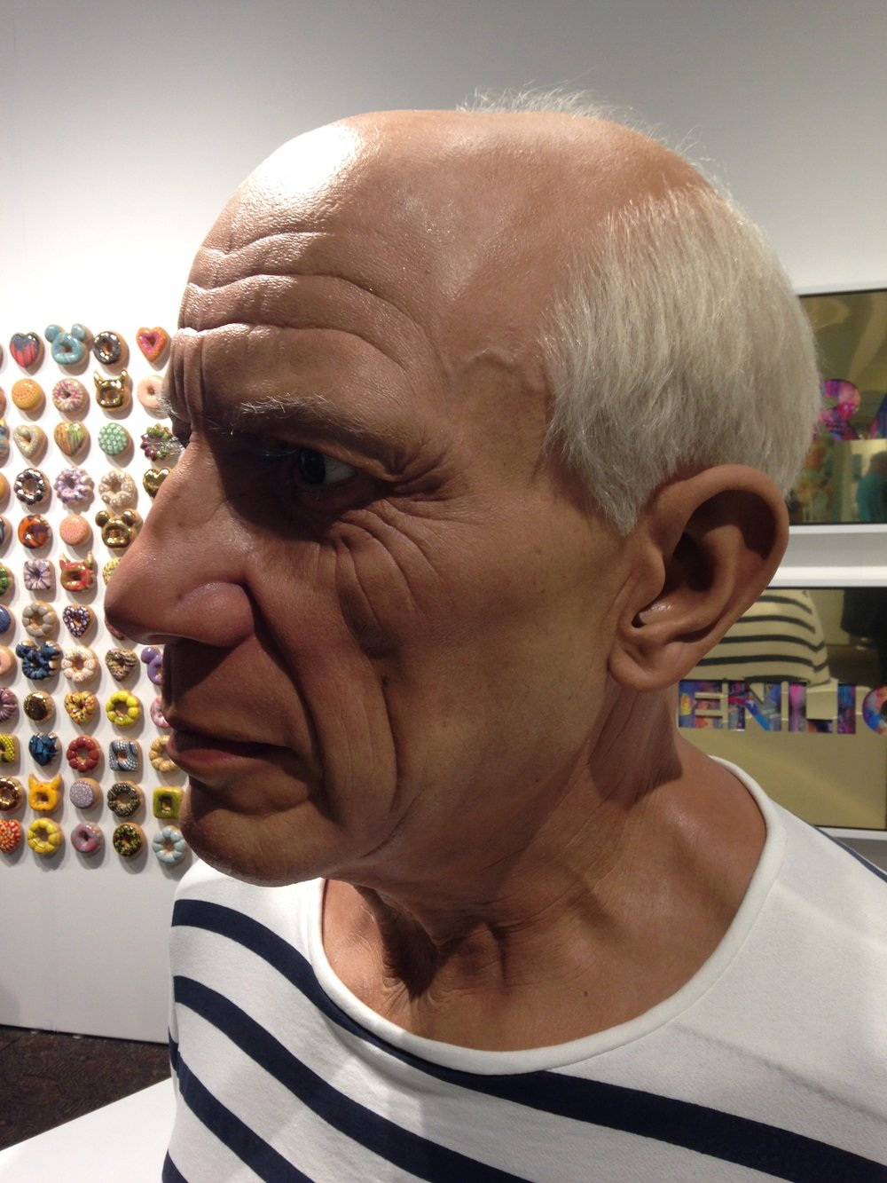 Jaime Salmon,  Pablo Picasso , 2016,silicone, resin, acrylic, wood, pigment, fabric and hair