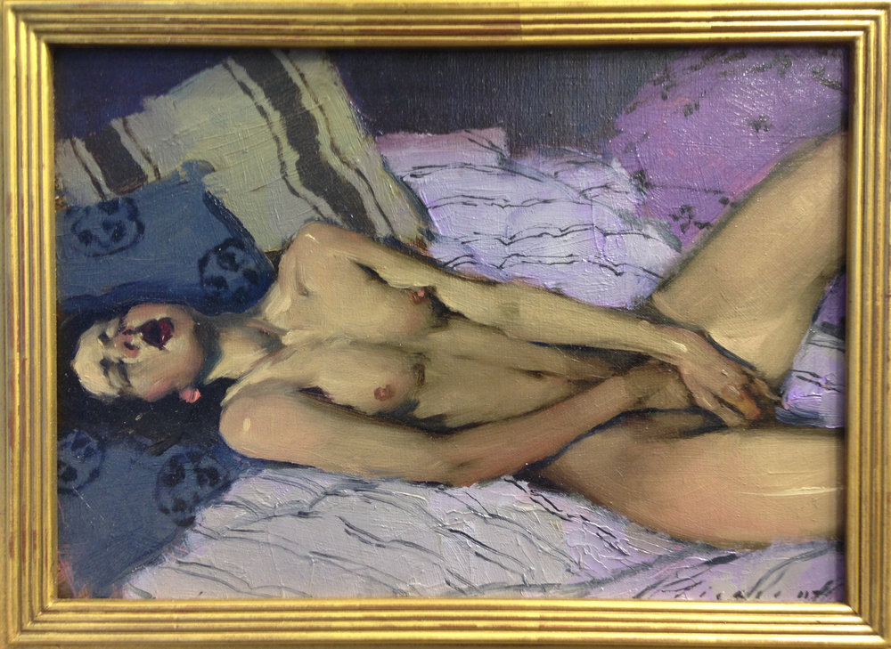 "Malcolm T. Liepke- ""Passion in Purples"" - Oil on Canvas - 9 x 13 inches"