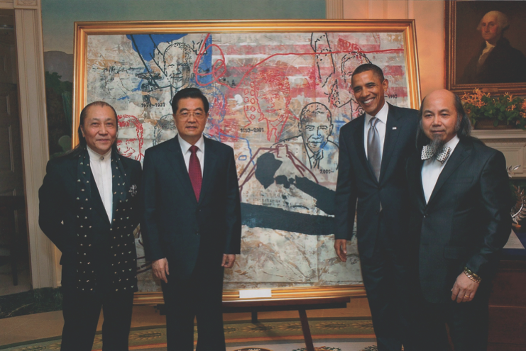 The Zhou Brothers present a painting from President Obama to the President of China Hu Jintao. Image Courtesy: Zhou Brothers Studio