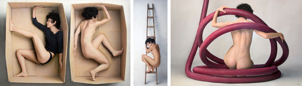Juan Cossío  |  left to right:  Boxed In - Ladder I - Red Circle