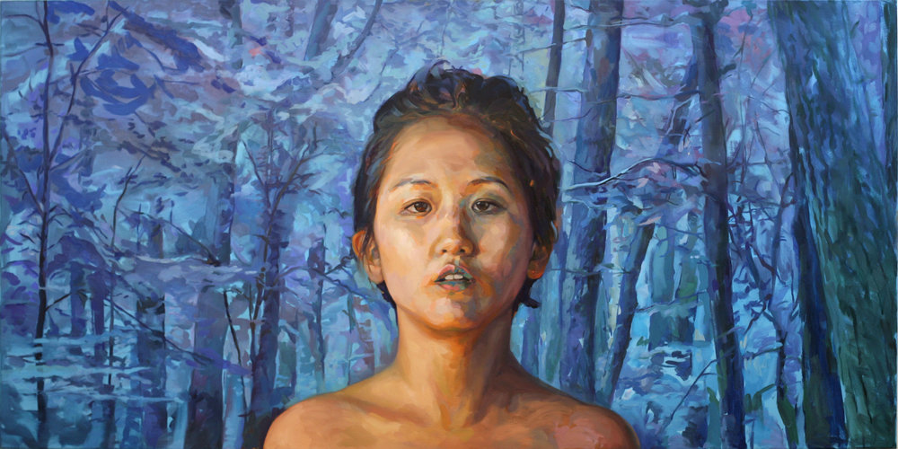 "Jieun Beth Forest, oil on canvas, 36"" x 72"", 2016 Artist Jieun Beth, as her name indicates, is both Korean and American. The conflicting and competing colors and patterns in her portrait mirror her upbringing traveling between Korea and the United States. Her beauty attracts the viewer while the cool colors in the skin make the flesh is unsettling."