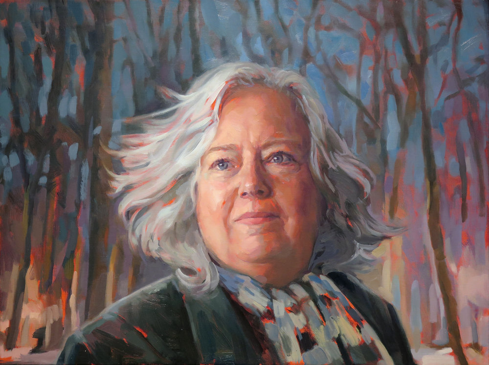 "Johnnie Snow, oil on canvas, 36"" x 72"", 2016 Painter Johnnie Sielbeck and I paint together weekly at the studio of Jennifer Balkan. This portrait was created for the Painters Painting Painters exhibition at Davis Gallery in fall of 2016. Each artist was assigned in the exhibition was assigned to paint two other artists, as well as a self-portrait. In this painting Johnnie is the hero of a yet to be written movie."