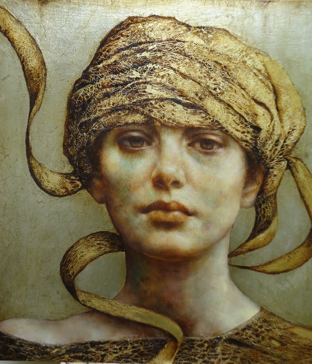 Pam Hawkes  |  Unraveling  |  Oil, beeswax & metal leaf on board  |  15 ¾ x 15 ¾ inches or 40 x 40 cm