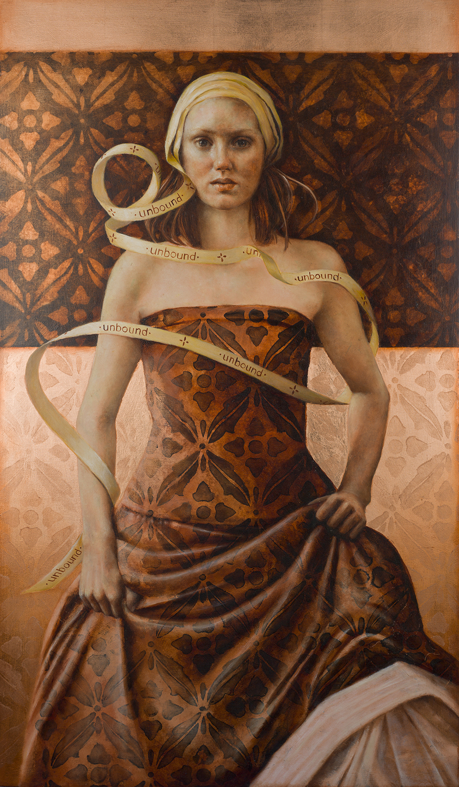 Pam Hawkes  |   Unbound   |  Oil on copper leaf on board  |  41 x 24 inches or 104 x 61 cm