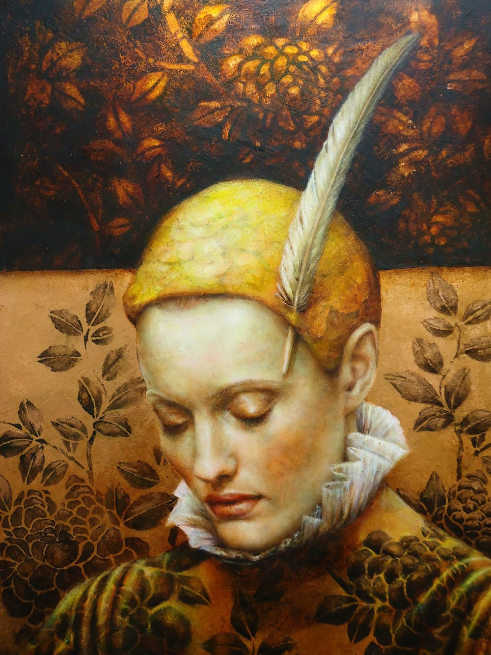 Pam Hawkes  |  Holding onto the Light  |  Oil on copper leaf on board  |  20 x 16 inches or 50 ¾ x 40 ½ cm